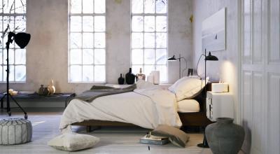 Bett in Loftwohnung