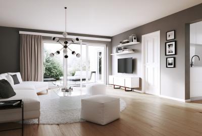 Wohnzimmer einer Neubauwohnung
