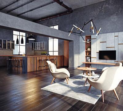 Modernes Wohn- und Esszimmer im Industrielook