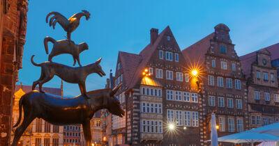 Blick auf die berühmte Statue der Bremer Stadtmusikanten Esel Hund und Katze in Bremen