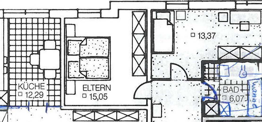 Grundriss einer Immobilie vor Erneuerung