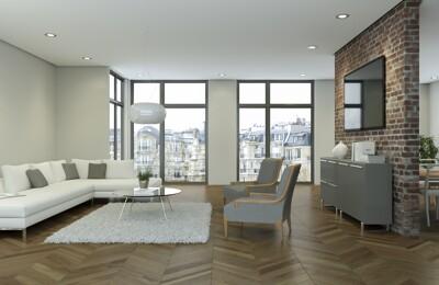 Moderne Wohnung mit Holzfussboden