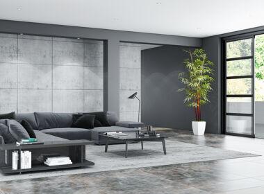 Wohnzimmer in modernen Grautönen