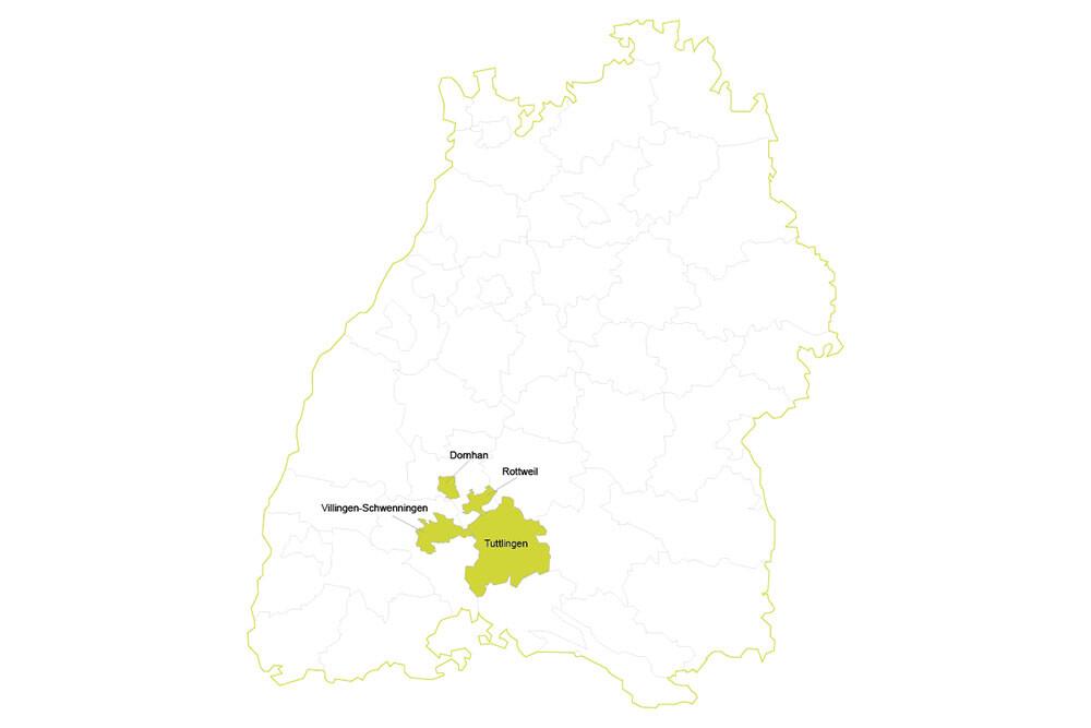 Standortkarte Gerrit Maier Immobilien - Immobilienmakler in Dornhan, Rottweil, Tuttlingen und Villingen-Schwenningen