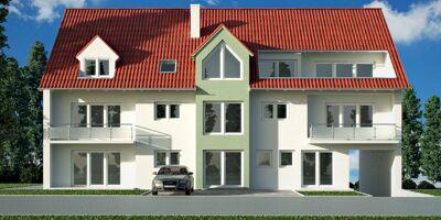 Neubau Mehrfamilienhaus mit rotem Dach
