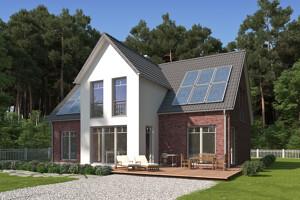 Einfamilienhaus aus Klinker mit weißem Erker