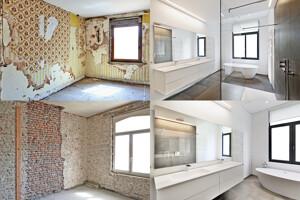 Vergleich vor und nach der Renovierung eines Badezimmers