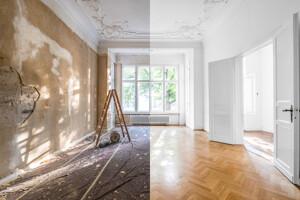 Zimmer vor und nach der Renovierung