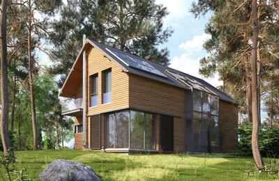 Modernes Einfamilienhaus aus Holz