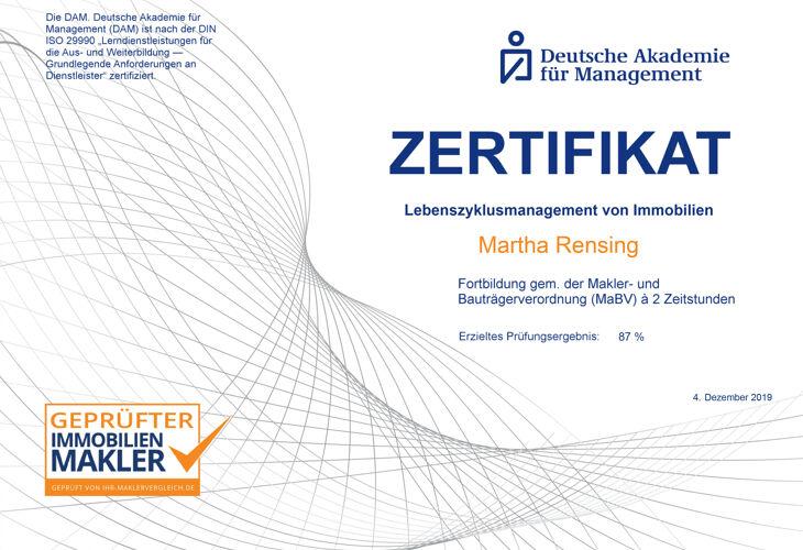 Zertifikat der deutschen Akademie für Management