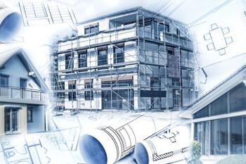 Neubau mit Bauplänen