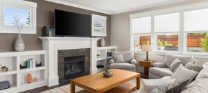 blick in modernes wohnzimmer