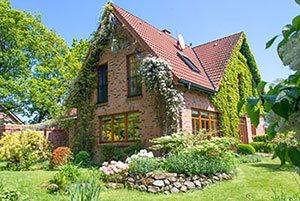 Einfamilienhaus mit Kletterpflanzen