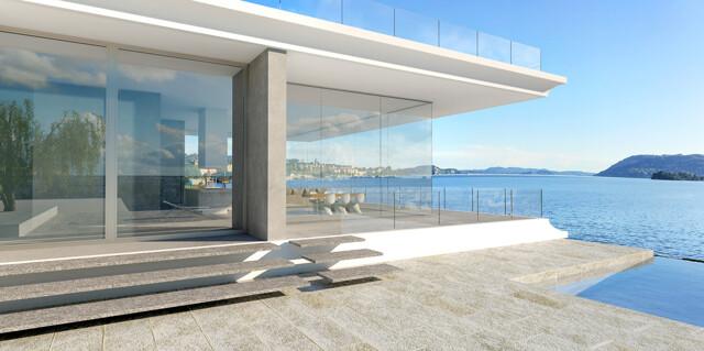 Villa und Terrasse mit Meerblick
