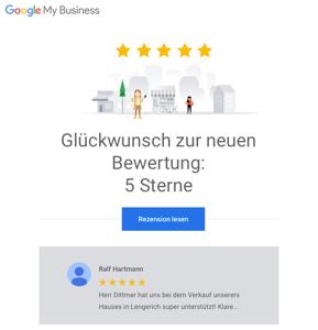 5 Sterne Google Bewertung für amarc21 Immobilien Lengerich