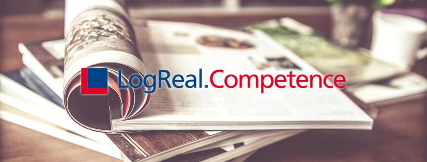 LogReal.Competence mit Zeitschriften im Hintergrund