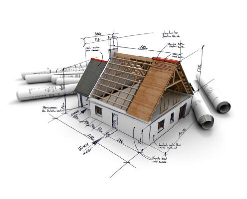 Grundrisse und modelliertes Haus