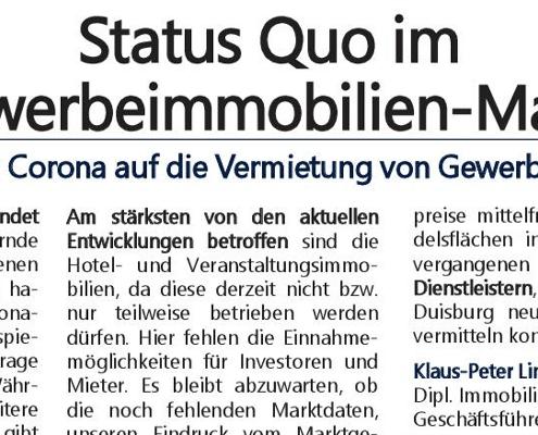 Ausschnitt unserer Zeitungsanzeige zum Thema Status Quo im Gewebreimmobilien-Markt